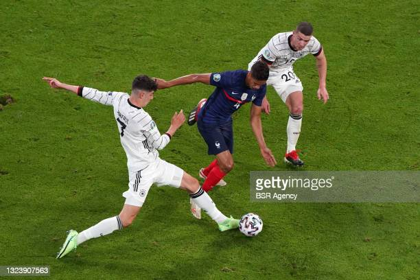 Kai Havertz of Germany, Raphael Varane of France during the UEFA Euro 2020 match between France and Germany at Allianz Arena on June 15, 2021 in...