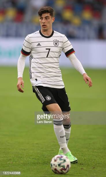 Kai Havertz of Germany runs with the ball during the international friendly match between Germany and Latvia at Merkur Spiel-Arena on June 07, 2021...