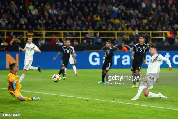 Kai Havertz of Germany scores his team's second goal during the International Friendly match between Germany and Argentina at Signal Iduna Park on...