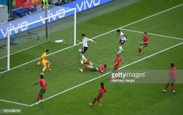 Kai Havertz of Germany scores their side's third goal past Rui Patricio of Portugal during the UEFA Euro 2020 Championship Group F match between...