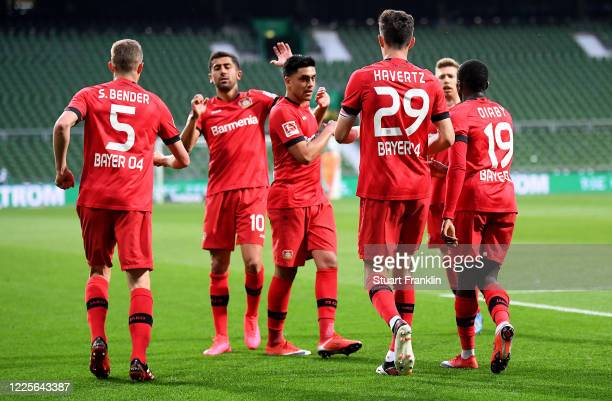 Kai Havertz of Leverkusen celebrate with his team mates after he scores his team's 2nd goal during the Bundesliga match between SV Werder Bremen and...
