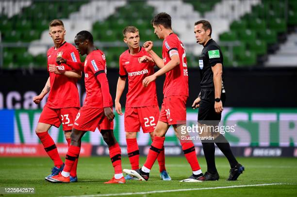 Kai Havertz of Leverkusen celebrate with his team mates after he scores the opening goal during the Bundesliga match between SV Werder Bremen and...
