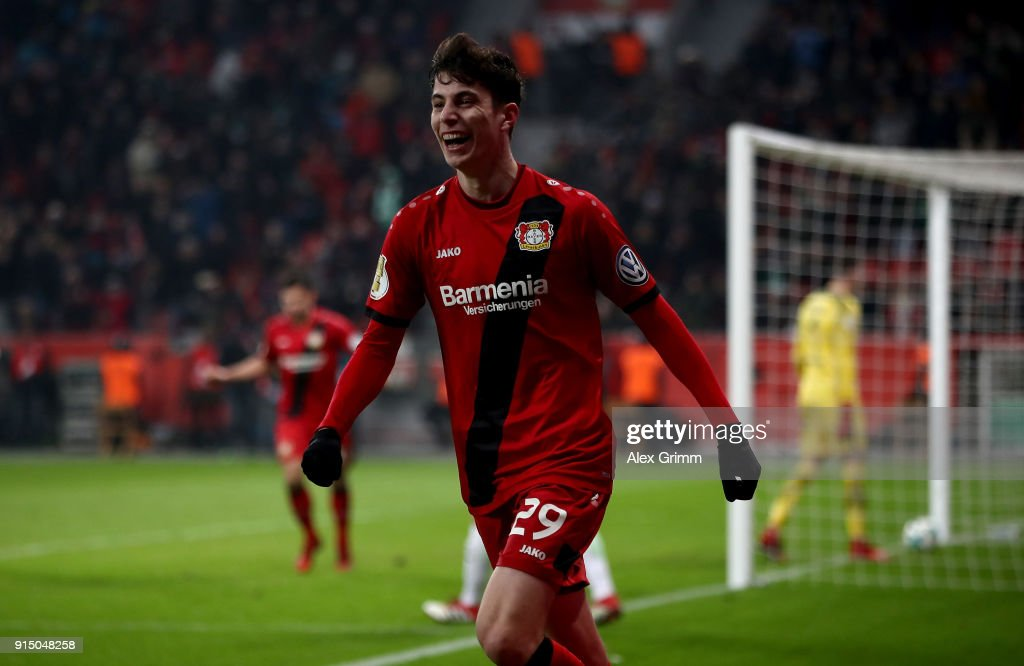 Kai Havertz of Leverkusen celebrates after he scores the 4th goal during extra time during the DFB Cup quarter final match between Bayer Leverkusen and Werder Bremen at BayArena on February 6, 2018 in Leverkusen, Germany.