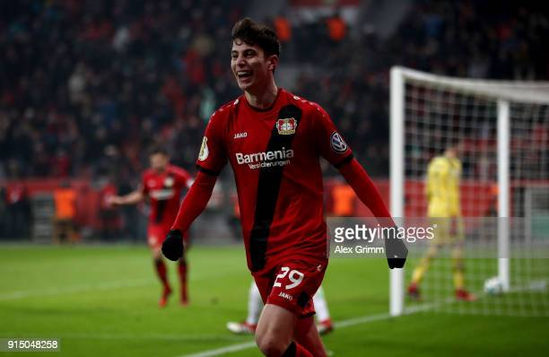 Kai Havertz of Leverkusen celebrates after he scores the 4th goal during extra time during the DFB Cup quarter final match between Bayer Leverkusen...