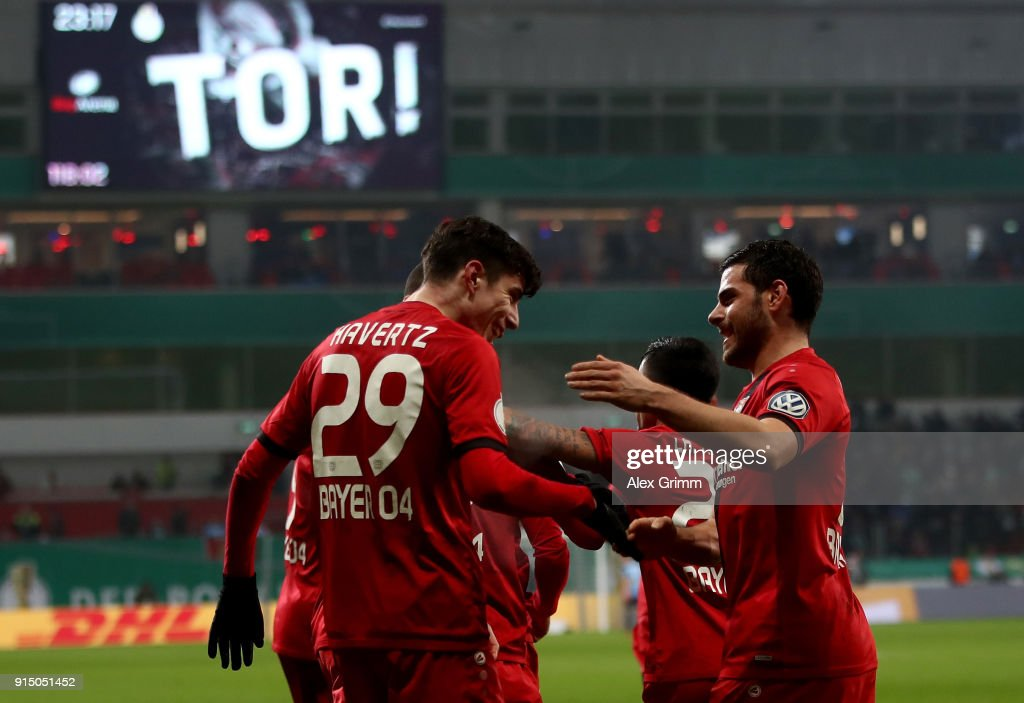 Kai Havertz #29 of Leverkusen celebrates after he scores the 4th goal during extra time during the DFB Cup quarter final match between Bayer Leverkusen and Werder Bremen at BayArena on February 6, 2018 in Leverkusen, Germany.