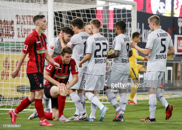 Kai Havertz of Leverkusen celebrates after scoring his sides first goal during the Bundesliga match between SportClub Freiburg and Bayer 04...