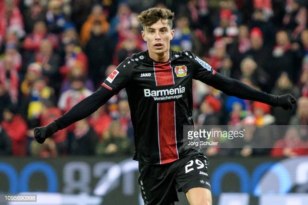 Kai Havertz of Leverkusen celebrates after scoring the 12 lead during the Bundesliga match between 1 FSV Mainz 05 and Bayer 04 Leverkusen at the Opel...