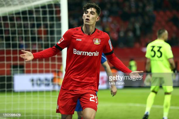 Kai Havertz of Leverkusen celebrates his team's first goal during the Bundesliga match between Bayer 04 Leverkusen and Fortuna Duesseldorf at...