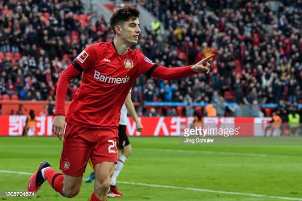 Kai Havertz of Leverkusen celebrates his teams first goal during the Bundesliga match between Bayer 04 Leverkusen and Eintracht Frankfurt at BayArena...