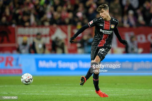 Kai Havertz of Leverkusen controls tha ball during the Bundesliga match between 1 FSV Mainz 05 and Bayer 04 Leverkusen at the Opel Arena on February...