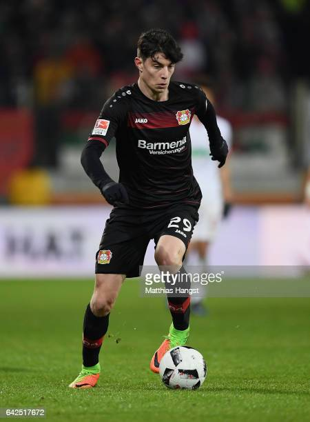 Kai Havertz of Leverkusen controls the ball during the Bundesliga match between FC Augsburg and Bayer 04 Leverkusen at WWK Arena on February 17 2017...