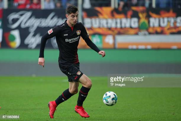 Kai Havertz of Leverkusen controls the ball during the Bundesliga match between FC Augsburg and Bayer 04 Leverkusen at WWKArena on November 4 2017 in...