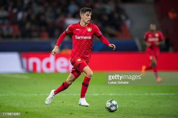 Kai Havertz of Leverkusen controls the ball during the UEFA Champions League group D match between Bayer Leverkusen and Lokomotiv Moskva at BayArena...