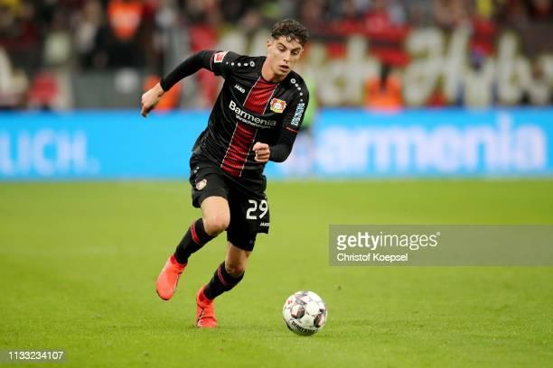 Kai Havertz of Leverkusen runs with the ball during the Bundesliga match between Bayer 04 Leverkusen and SportClub Freiburg at BayArena on March 02...