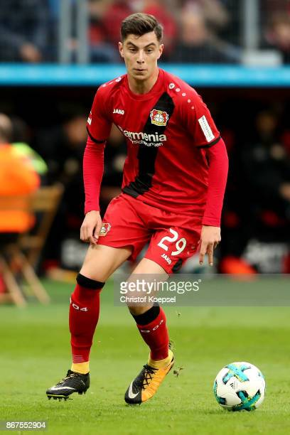 Kai Havertz of Leverkusen runs with the ball during the Bundesliga match between Bayer 04 Leverkusen and 1 FC Koeln at BayArena on October 28 2017 in...