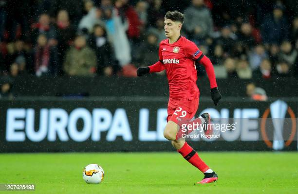 Kai Havertz of Leverkusen runs with the ball during the UEFA Europa League Round of 32 first leg match between Bayer 04 Leverkusen and FC Porto at...