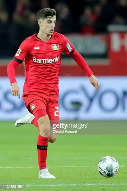 Kai Havertz of Leverkusen runs with the ball runs with the ball during the Bundesliga match between Bayer 04 Leverkusen and FC Schalke 04 at BayArena...
