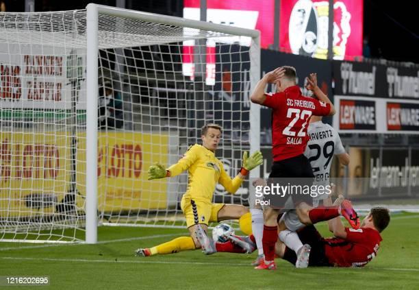 Kai Havertz of Leverkusen scores his sides first goal during the Bundesliga match between Sport-Club Freiburg and Bayer 04 Leverkusen at...