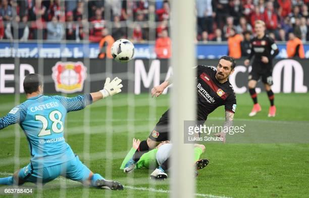 Kai Havertz of Leverkusen scores his team's third goal during the Bundesliga match between Bayer 04 Leverkusen and VfL Wolfsburg at BayArena on April...