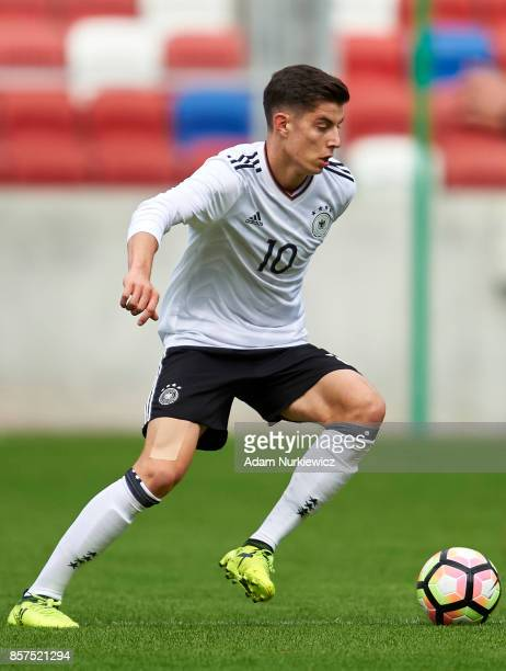 Kai Havertz of U19 Germany controls the ball during UEFA Under19 Euro Qualifier match between Germany and Belarus at the Zabrze Arena on October 4...