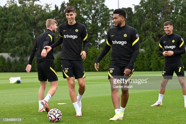 Kai Havertz, Reece James and Mason Mount of Chelsea during a training session at Chelsea Training Ground on August 13, 2021 in Cobham, England.
