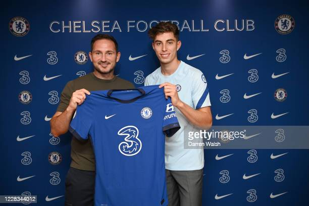 Kai Havertz signs for Chelsea FC alongside Head Coach Frank Lampard at Stamford Bridge on September 4, 2020 in London, England.