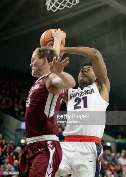 Kai Healy of the Santa Clara Broncos strips the ball from Rui Hachimura of the Gonzaga Bulldogs in the first half at McCarthey Athletic Center on...