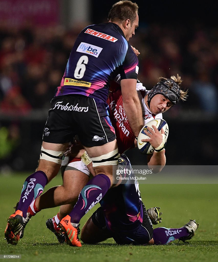 Kai Horstmann of Exeter (L) and Kyle McCall (R) of Ulster during the Champions Cup Pool 5 game at Kingspan Stadium on October 22, 2016 in Belfast, Northern Ireland.