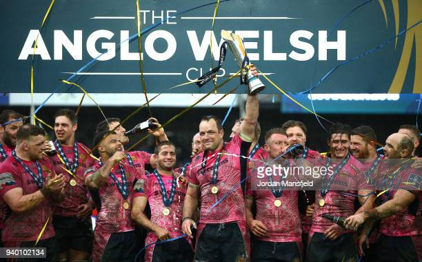 Kai Horstmann of Exeter Chiefs lifts the AngloWelsh Cup after wiining the Final between Bath Rugby and Exeter Chiefs at Kingsholm Stadium on March 30...