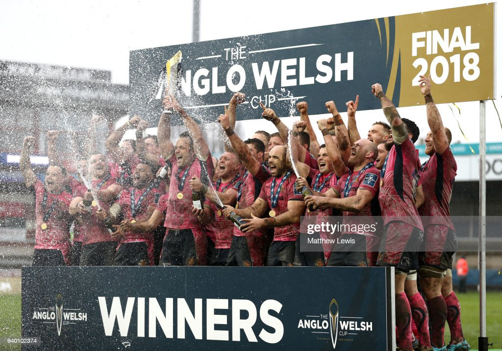 Kai Horstmann of Exeter Chiefs lifts the Anglo-Welsh Cup trophy and celebrates with team mates after winning the Final between Bath Rugby and Exeter Chiefs at Kingsholm Stadium on March 30, 2018 in Gloucester, England.