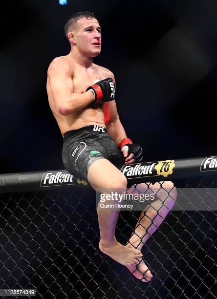 Kai Kara France celebrates winning his fight against Raulian Paiva in their Flyweight fight during UFC234 at Rod Laver Arena on February 10 2019 in...