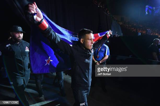 Kai Kara France of New Zealand walks to the Octagon prior to his flyweight bout against Raulian Paiva of Brazil during the UFC 234 at Rod Laver Arena...