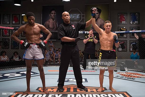 Kai KaraFrance celebrates his knockout victory over Terrence Mitchell during the filming of The Ultimate Fighter Team Benavidez vs Team Cejudo at the...