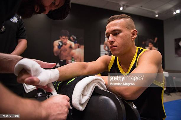 Kai KaraFrance gets his hands wrapped before facing Terrence Mitchell during the filming of The Ultimate Fighter Team Benavidez vs Team Cejudo at the...