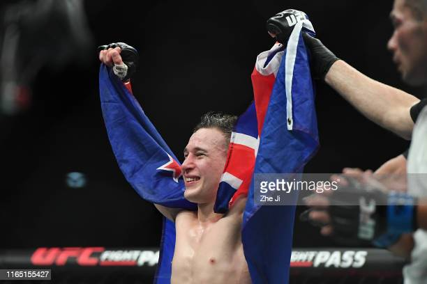Kai KaraFrance of New Zealand celebrates after defeating Mark De La Rosa in their flyweight bout during the UFC Fight Night event at Shenzhen...