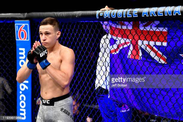 Kai KaraFrance of New Zealand enters the octagon in his flyweight bout during the UFC 245 event at TMobile Arena on December 14 2019 in Las Vegas...