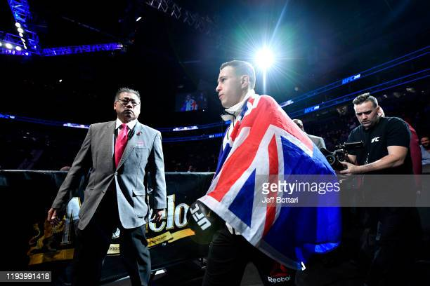 Kai KaraFrance of New Zealand walks to the octagon in his flyweight bout during the UFC 245 event at TMobile Arena on December 14 2019 in Las Vegas...