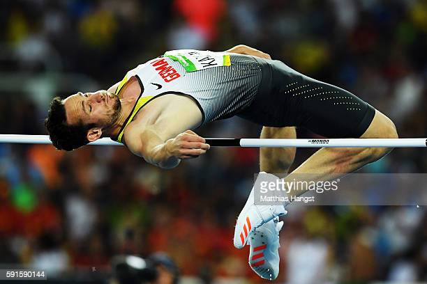 Kai Kazmirek of Germany competes in the Men's Decathlon High Jump on Day 12 of the Rio 2016 Olympic Games at the Olympic Stadium on August 17 2016 in...