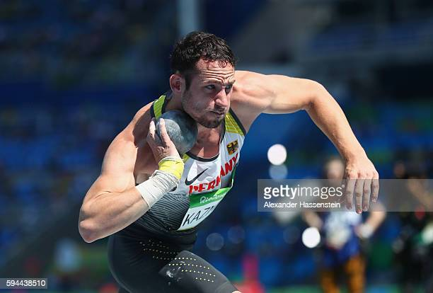 Kai Kazmirek of Germany competes in the Men's Decathlon Shot Put on Day 12 of the Rio 2016 Olympic Games at the Olympic Stadium on August 17 2016 in...