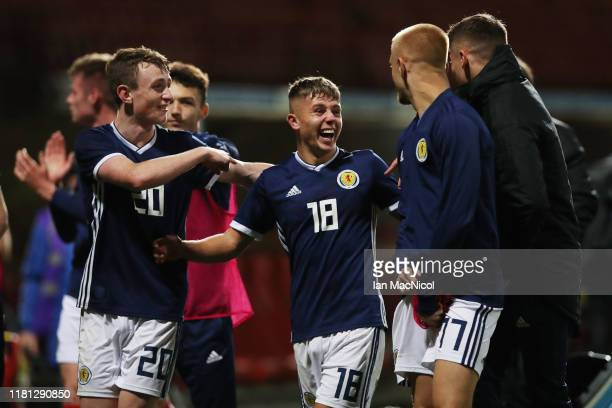 Kai Kennedy of Scotland reacts at full time during the UEFA Under 19 European qualifier match between Scotland and Germany at Firhill Stadium on...