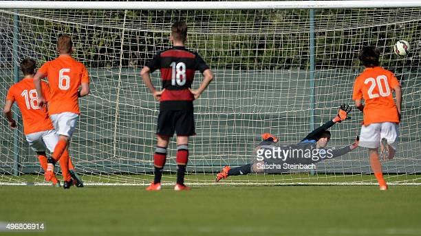 Kai Koreniuk of Netherlands scores the opening goal from a penalty during the U18 four nations friendly tournament match between Netherlands and...