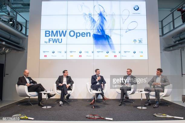 Kai Meesters media spokesperson BMW Open Michael Mronz promoter of the BMW Open tennis tournament Friedrich Ebel head of sports marketing at BMW AG...