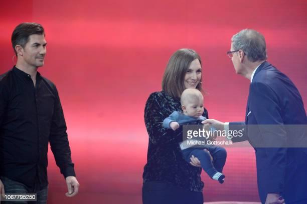 Kai Michalke Ramona Isaac Baby Leon and Günther Jauch speak on stage during the tv show '2018 Menschen Bilder Emotionen' on December 3 2017 in...