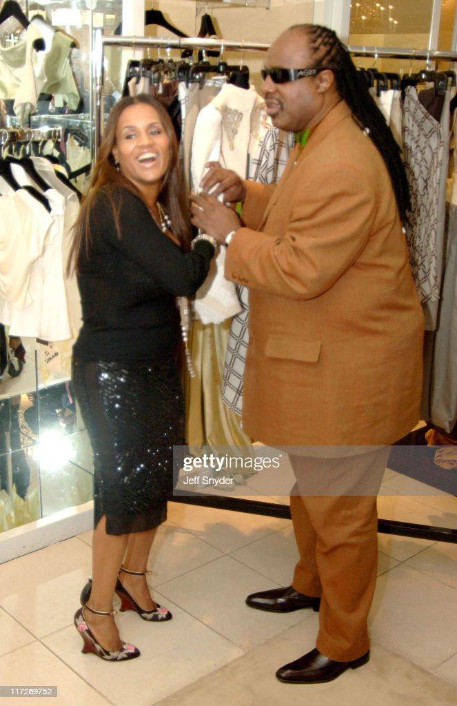 Kai Milla and husband Stevie Wonder during Stevie Wonder Attends His Wife Kai Milla's Fashion Show - December 11, 2005 at Saks Jandel in Washington, D.C., -, United States.