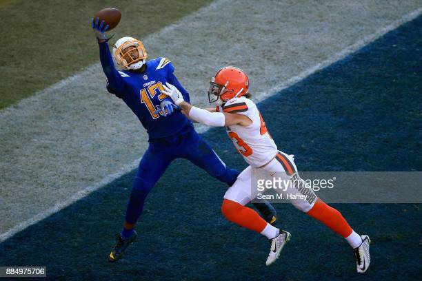Kai Nacua of the Cleveland Browns breaks up a pass intended for Keenan Allen of the Los Angeles Chargers during the second half of a game at StubHub...