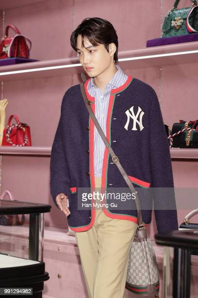 Kai of boy band EXOK attends during a promotional event for the Gucci at Gucci Gangnam Store in Hyundai Department Store on July 3 2018 in Seoul...