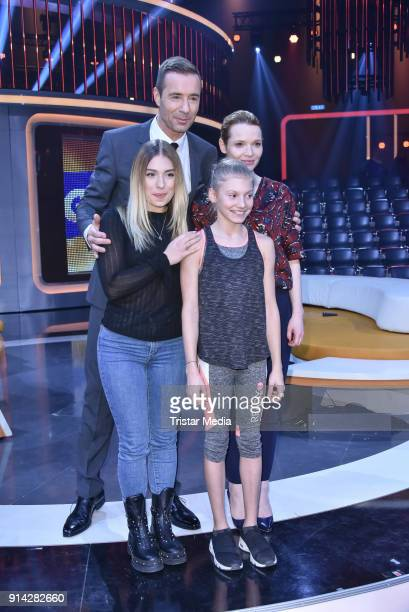 Kai Pflaume and Bianca Heinicke alias Bibi with candidate kids during the TV Show 'Klein gegen Gross' on February 4 2018 in Berlin Germany