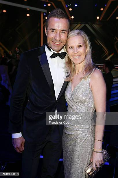 Kai Pflaume and Ilke Pflaume attend the Goldene Kamera 2016 show on February 6 2016 in Hamburg Germany