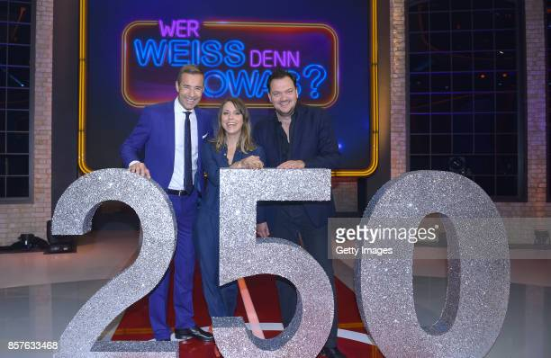 Kai Pflaume Anneke Kim Sarnau and Charly Huebner attend 250th episode of 'Wer weiss denn sowas' at Studio Hamburg on October 4 2017 in Hamburg Germany