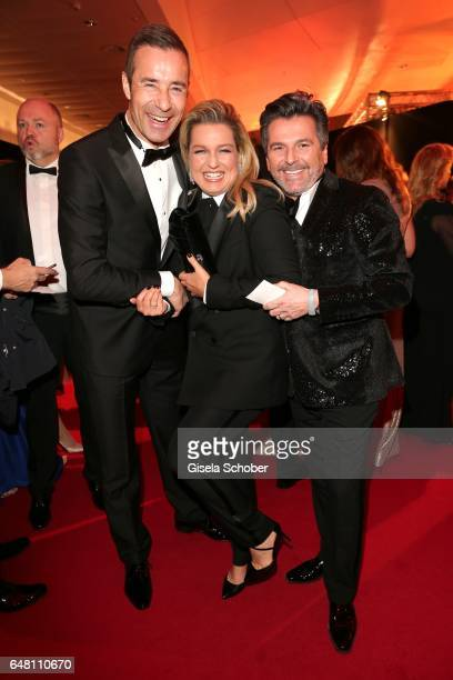 Kai Pflaume Thomas Anders and his wife Claudia Anders during the Goldene Kamera reception at Messe Hamburg on March 4 2017 in Hamburg Germany